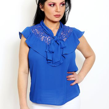 Royal Blue Ruffle Neck Blouse