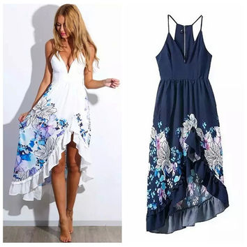 Summer V-neck Print Irregular Ruffle Spaghetti Strap Prom Dress One Piece Dress [4920224708]