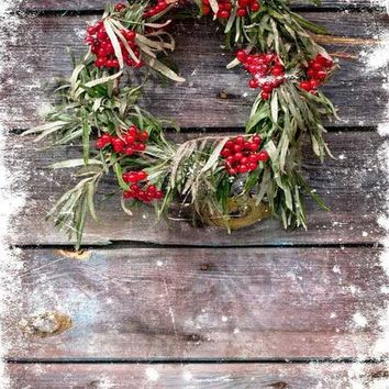 Barn Wood Christmas Wreath Backdrop - 5x6 - LCTC9437 - LAST CALL