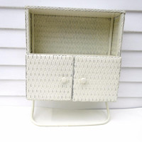 Vintage Wall Cabinet, White Wicker Shelf, Bathroom Storage Cabinet, Towel Rack – Bathroom Shelving