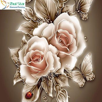 Zhui Star full Square drill Rhinestone Home Decor DIY Diamond painting Rose &butterfly 5D cross stitch diamond embroidery HC