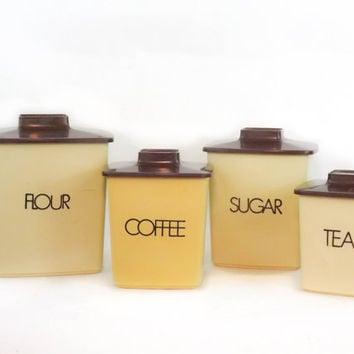 Vintage Kitchen Canister Set Beige Canister Set Retro Canister Set