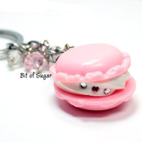 Pink Macaron Cookie Keychain - French macaroon keyring - Kawaii cute miniature food - fake food sweets