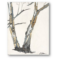 ORIGINAL Painting - 14x11 Tree Art w/ bark - Painting of trees Landscape - small painting neutral white pastels blue gray hellow