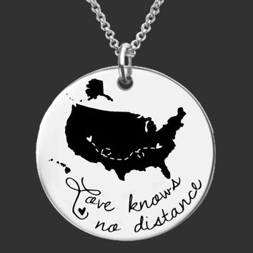 Love Knows No Distance Custom Necklace