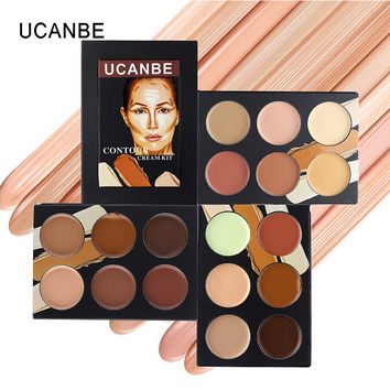 Professional UCANBE Contour Cream Kit 6 Color Face Concealer Palette Makeup Set brighten contour natural Cover Acne freckle