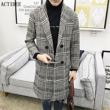 2017 New Middle Long Men's Wool Jackets Men Woolen Coats Plaid Jacket And Coat Mens Warm Wool Overcoat Plus Size 5XL 3XL 4XL 5z