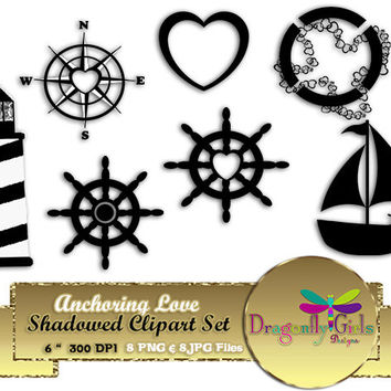 80% OFF Sale Anchoring Love Shadowed Clipart, commercial use, digital scrapbook papers, vector graphics, printable, Instant Download