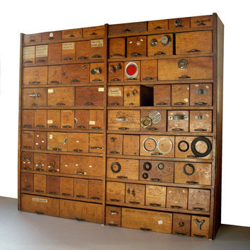 Vintage Hardware Store Bins and Shelving Cabinet / by urgestudio