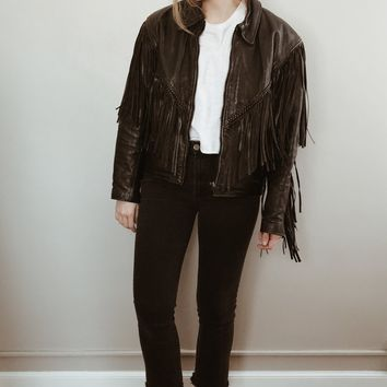 Vintage 1970's Fringe Leather Biker Jacket