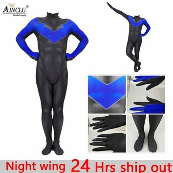 Ainclu 24 Hrs Ship Out Kid's Men's Nightwing Cosplay Costume Batman Lycra Spandex Full Body Halloween Party Bodysuits Jumpsuits