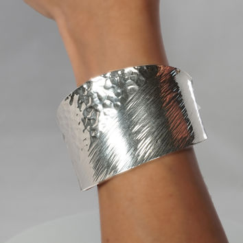 Hammered and Lines Cuff Bracelet. 950 Handmade Sterling Silver