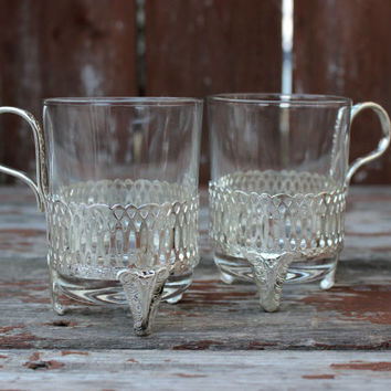 Vintage Pair of Two (2) Silver Toned Tea Glass Cup Holders | DIY Wedding Decor & Housewarming Gifts