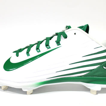 Nike Men's Lunar Vapor Pro Low White/Green Baseball Cleats 683895 130