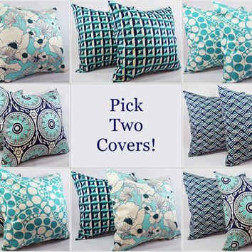 Pick Your Own Navy and Teal Pillow Covers - 16 x 16 Decorative Throw Pillow - Geometric Pillow - Teal Navy Blue Pillow Covers