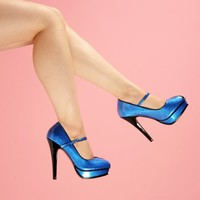 Mary Jane Peep Toe Pump in Blue Pearlized Glitter | Pinup Girl Clothing