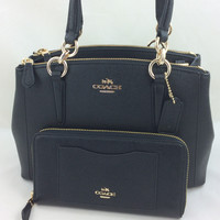New Authentic Coach F57523 Mini Christie Crossgrain Leather Carryall Satchel Shoulder Bag in Black+Wallet Set