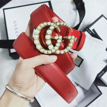 GUCCI New fashion pearl buckle couple leather belt Red