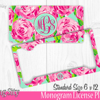 Floral Roses Monogram License Plate Frame Holder Metal Wall Sign Tags Personalized Custom Vanity Plate