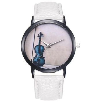 Vintage Violin Print Women's PU Leather Strap Watches