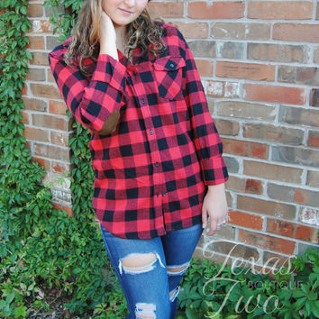 Red and Black Plaid Top with Elbow Patches