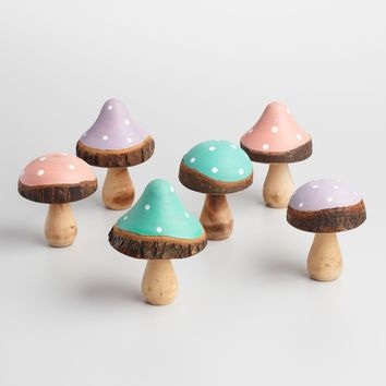 Polka Dot Wood Mushrooms Set of 6