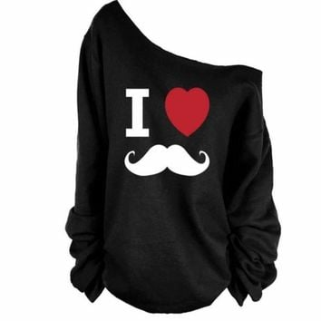 I Love Mustache Printed Pullover For Women