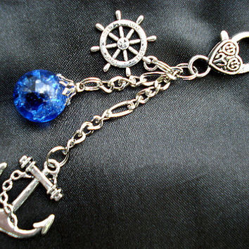 Nautical Anchor Fried Marble Rudder Rich Blue Love Keychain