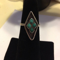 Carico Lake Turquoise Ring Size 7 Sterling Silver 925 Blue Stone Diamond Shape Vintage Navajo Southwestern Tribal Jewelry Boho 60s Indian