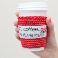 Coffee cozy/sleeve crochet and hand embroidery