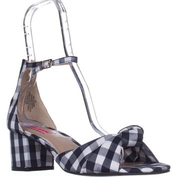 Betsey Johnson Ivee Ankle Strap Sandals, Blue Gingham, 7.5 US