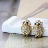 Women's Teen's Penguin Stud Earrings Animal Theme Gold Plated Crystal Nickel Free