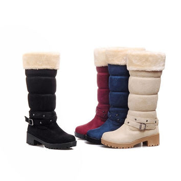 Faux Fur Warm Women Snow Boots Thick Heel = 1932957572