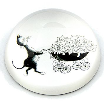 Dubout Mommy Cat Pushing Kittens in Stroller Funny Glass Dome Desk Paperweight 3W