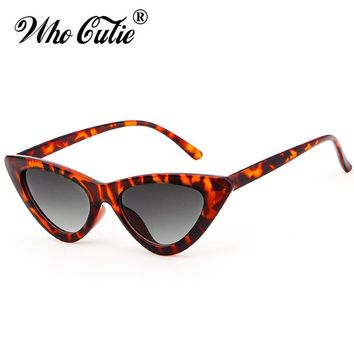 WHO CUTIE 2018 Women Cat Eye Sunglasses UV400 Small Narrow Lens Vintage Tortoise Shell Frame Cateye Sun Glasses Retro Shades 509