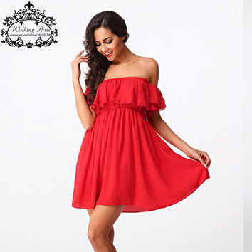 2016 New Women Chiffon Dress Off Shoulder Hawaiian Beach European Casual Sexy Dress Red Patchwork Ruffles Summer Lady Dress