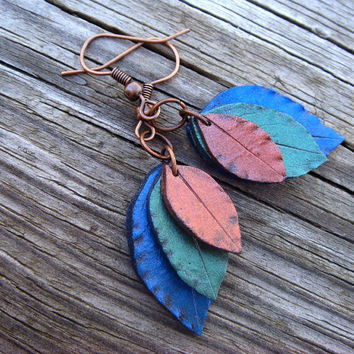 Leaf Earrings  Peacock Colors  Blue Green Gold  by JustClayin