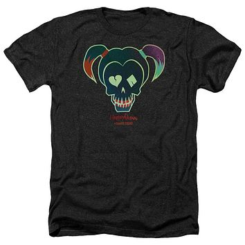 Mens Suicide Squad Harley Skull Heathered T-Shirt