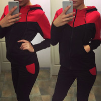 Zipper Hoodie Casual Pants Patchwork Fashion Activewear Set