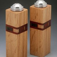 Bold Mosaic Salt and Pepper Shakers by Martha Collins (Wood Salt and Pepper Shakers) | Artful Home