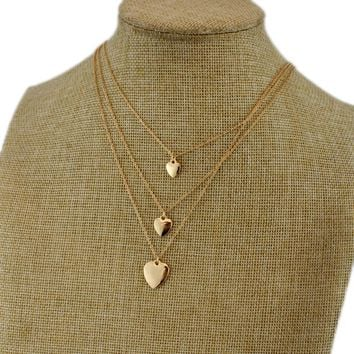 New Korean Fashion Network Red Love Heart Necklace Female Korean Gold Solid Heart-shaped Multi-layer Clavicle Chain Three-layer chain LO
