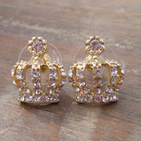 Gold Crown Earrings - Gold Rhinestone Crown Earrings