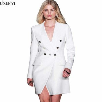 Lxunyi Runway Blazers Women Long V-Neck Slim Suit Jacket Coat Double Breasted Blazer Feminino White
