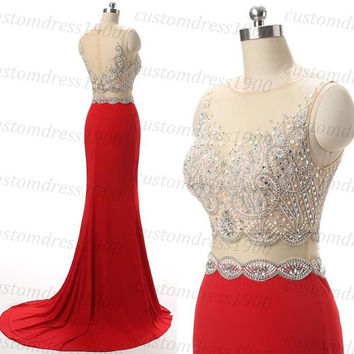 Long red prom dress handmade beading chiffon red formal women dress,red mermaid long evening dress/wedding party dress
