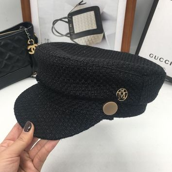 Fashion small sweet mother-daughter hat flat knitting hat M word newsboy cap short eaves cap in the streets sailor cap