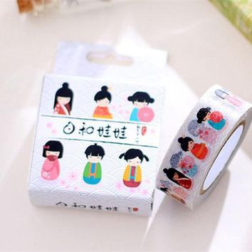 New sweet cartoon japan girl doll paper masking Tape Decoration stationery Tape
