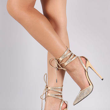 Rhinestone Pointy Toe Ankle Cuff Lace Up Stiletto Pump