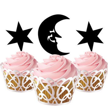 6 pcs in one set moon and stars CupCake toppers for party decor, baby shower cupcake toppers acrylic,  topper for birthday, gift idea