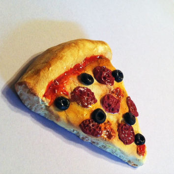 Pepperoni Pizza Magnet, Polymer Clay Magnet, Miniature Food