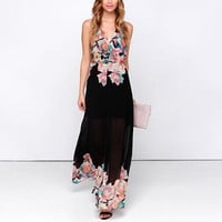 Black Halter Floral Print Chiffon Maxi Dress